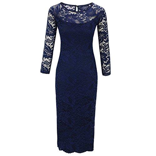 Laeticia Dreams Damen Kleid aus Spitze Langarm Wadenlang S M L XL XXL XXXL, Farbe:Blau;Größe:48