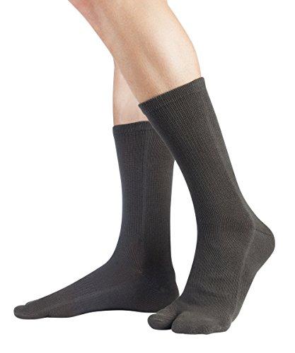 Knitido Traditionals Tabi, klassische wadenlange Zwei-Zehen-Socken aus Japan, Größe:39-42, Farbe:Dunkelgrau