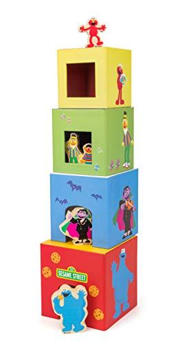small foot 10982 Sesamstrasse Stapelturm, 100% FSC-Zertifiziert, für Kinder ab 1 Jahr, Vier Stapelwürfel inkl. 5 Figuren Spielzeug, Mehrfarbig