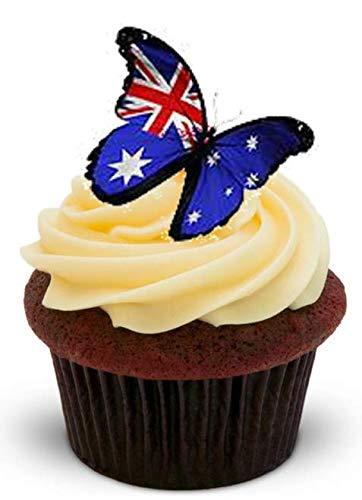 �Schmetterlinge mit Motiv australische Flagge für Australia Day – 12essbare Kuchendekorationen aus Waffelpapier–2x A5-Blätter–12Bilder, aufstellbar ()