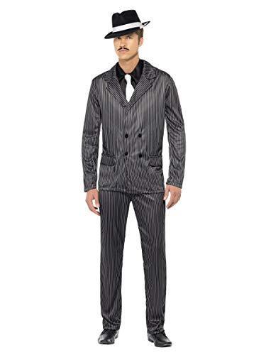 Erwachsene Herren 1920s Jahre Gangster Gangsta Bugsy Malone Great Gatsby Kostüm Kleid Outfit - Schwarz/weiß, Large (42-44