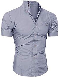 Crazboy 2019 Herren Casual Button O Neck Pullover Kurzarm T-Shirt Top Bluse a44b596ba5