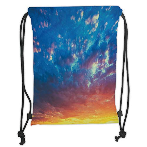 LULUZXOA Gym Bag Printed Drawstring Sack Backpacks Bags,Yellow and Blue,Dramatic Sky Sunset Scenic Cloudscape Idyllic Twilight Eco Picture,Coral Earth Yellow Soft Satinr
