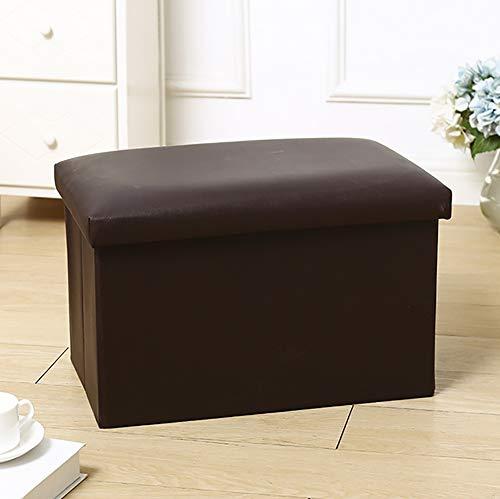 Falten Lager Ottomane Single Sitz Fußbank Spielzeug Box Single Sitz Bank Leder (49x31x31cm),Brown