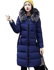 KOROWALas mujeres gruesas abrigos de invierno cuello de piel de algodón con capucha larga chaqueta con cremallera