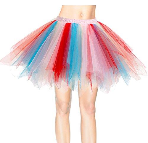 Dresstells Kurz Retro Petticoat 50er Tutu Rock Reifrock Ballett Tanzkleid Unterkleid Rockabilly für Kostüm Party Blue-champagne-red (Red Kostüme Damen M&m)