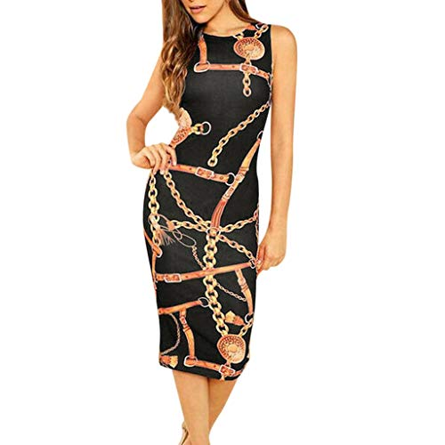 MAYOGO Ladies Chain Print Bodycon Clubwear Evening Cocktail Party Slim Formal Dress Lang Bleistiftkleid Etuikleid