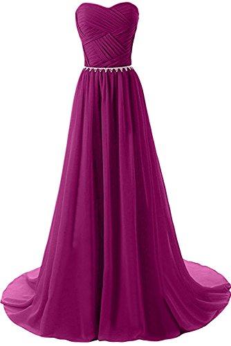 Sunvary Neu Herzform Falte Chiffon Abendmode Lang Ballkleider A-Linie Pink