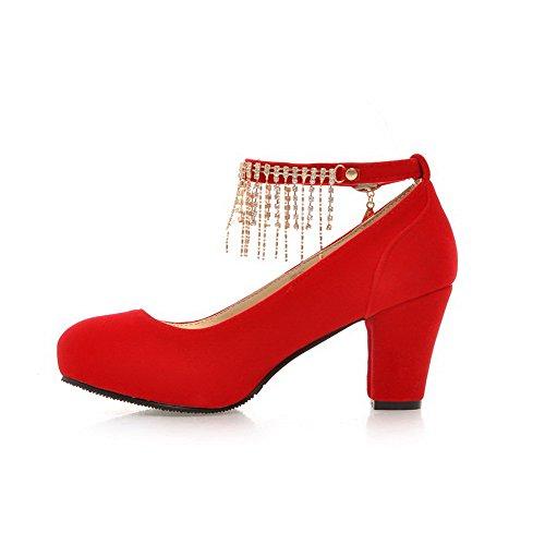 AgooLar Damen Hoher Absatz Eingelegt Schnalle Rund Zehe Pumps Schuhe Rot