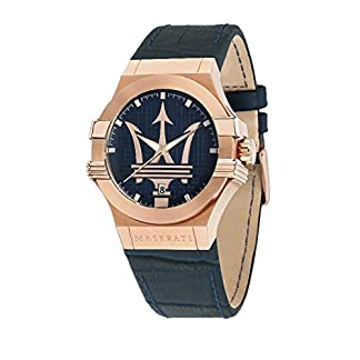 Reloj para Hombre, Colección Potenza, Movimiento de Cuarzo, Solo Tiempo con Fecha, en Acero, PVD Oro Rosa y Cuero – R8851108027