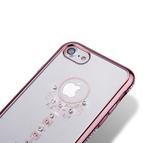 iPhone 8 Plus Hülle,iPhone 7 Plus Hülle,SainCat iPhone 7 Plus Silikon Hülle Tasche Handyhülle Schwarz Glitzer Stern Schutzhülle Transparent TPU Gel Case Bumper Weiche Crystal Kirstall Clear Silikonhül Rose Gold-Schlüssel