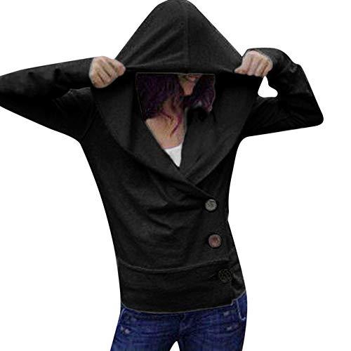 SUNNSEAN Damen Sweatshirt Pullover Frauen Einfarbig Knopf Lässige Hoodie Niedlich Lose Mädchen...
