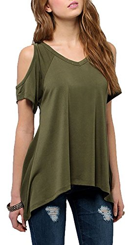 Landove Off Shoulder Top Estate Camicetta Blusa Maniche Corte Casual T-shirt Maliga Cotone per Donna Verde