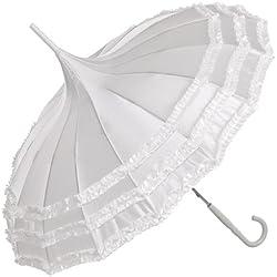 Paraguas Nupcial en blanco satén