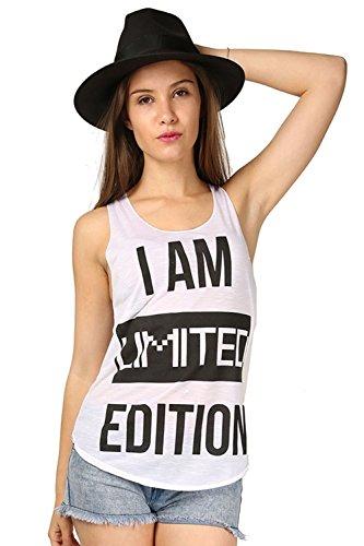 Women Slogan I Am Limited Edition Edge Summer Burnout Jersey Vest Tee T Shirt Top Plus Sizes UK 8-26