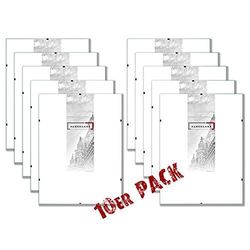PANORAHMA BILDERRAHMEN 10 Stück Bilderrahmen Rahmenlos Glasbilderrahmen, Bildformat: 21 x 29,7 cm (Din A4), Normalglas (10er Pack)