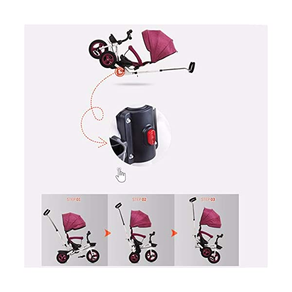 GSDZSY - Children Tricycle Foldable, Detachable Putter And Fence, Waterproof And UV Protection Awning, Rubber Wheel, Suitable For 1-5 Years Old Baby GSDZSY ❀ Material: High carbon steel + ABS + rubber wheel, suitable for children from 6 months to 6 years old, maximum load 30 kg ❀ Features: The height of the push rod can be adjusted, the seat can be rotated 360; the adjustable umbrella can be used for different weather conditions ❀ Performance: high carbon steel frame, strong and strong bearing capacity; rubber wheel suitable for all kinds of road conditions, good shock absorption, seat with breathable fabric, baby ride more comfortable 4
