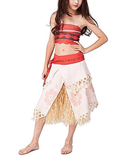 Yigoo Mädchen Kostüm Vaiana Prinzessin Kleid Party Kinder Cosplay Kleidung Festival Hallween Karnerval Moana 120