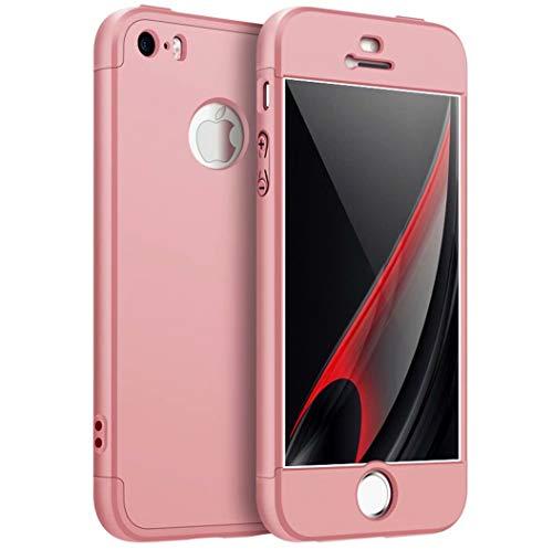 AILZH kompatibel für HandyHülle iPhone 5/5S/5SE Hülle 360 Grad Schutzhülle PC Schale Anti-Schock Anti-Kratz Stoßfänger 360 Grad Full-Cover Case Matte Schutzkasten 3 in 1(Rose)