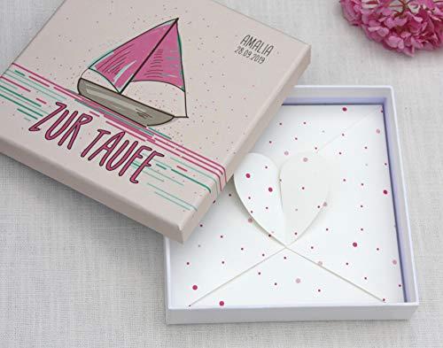 Geldgeschenk zur Taufe, Geld Verpackung, Glückwunschkarte zur Taufe für Junge und Mädchen PERSONALISIERT - Boot - Sailing in Love Schöne Boote