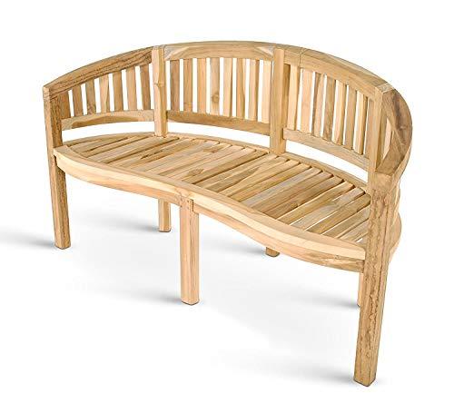 SAM 3-Sitzer Bananenbank Banana Gartenbank für Balkon & Terrasse, 150 cm, Teakholz massiv
