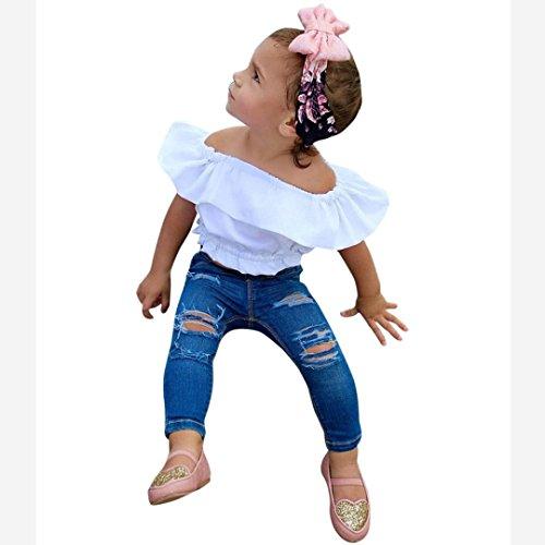 by Kinder Mädchen weg vom Schulter festen T-Shirt Oberseiten Top + Jeans Hosen Mädchen Ausstattungs Kleidungs Sets(2-7Jahre) (130CM 6Jahre, White) (7 Bekleidung)