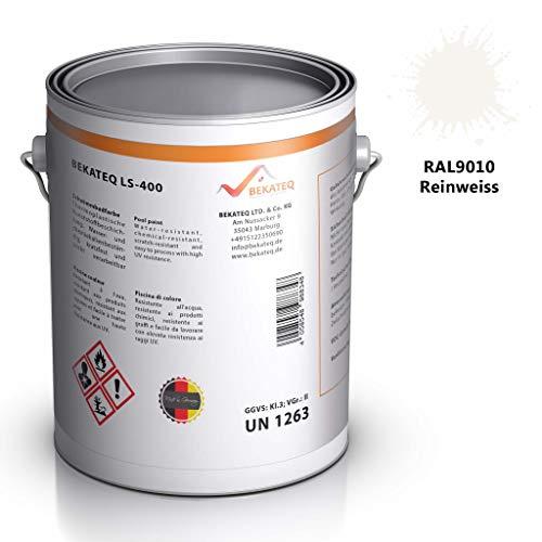 Bekateq Poolfarbe LS-400, weiss 2,5l seidenmatt, Schwimmbadfarbe ohne Chlorkautschuk für mineralische Untergründe wie Beton, Mauerwerk, Putz