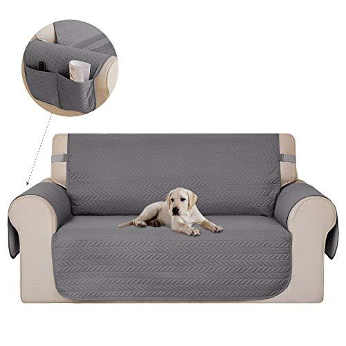 Deconovo copridivano 2 posti trapuntato con tasche fodera divano protegge il mobile per cani/gatti letto grigio chiaro