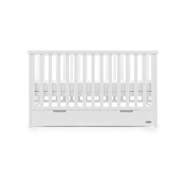 Obaby Belton Cot Bed, White Obaby Adjustable 3 position mattress height Bed ends split to transforms into toddler bed Includes matching under drawer for storage 4