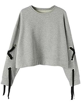 Sudaderas mujer Amlaiworld Moda mujer manga larga sudadera vendaje causal Tops blusa