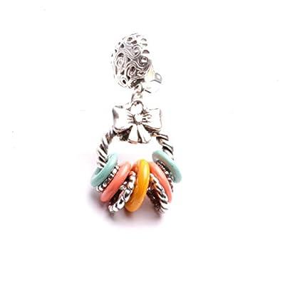 Boucles d'oreilles créole pendantes grappes multicolores clip fait à la main finition argent patine antique.