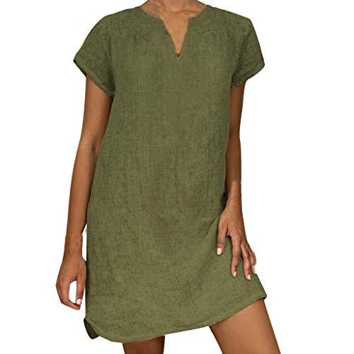 Bibao Damen Sommer V-Ausschnitt Kaftan Bikini Abdeckung Casual Strand Sonne Kleid XXXL armee-grün (Blumen-sonne-kleid)