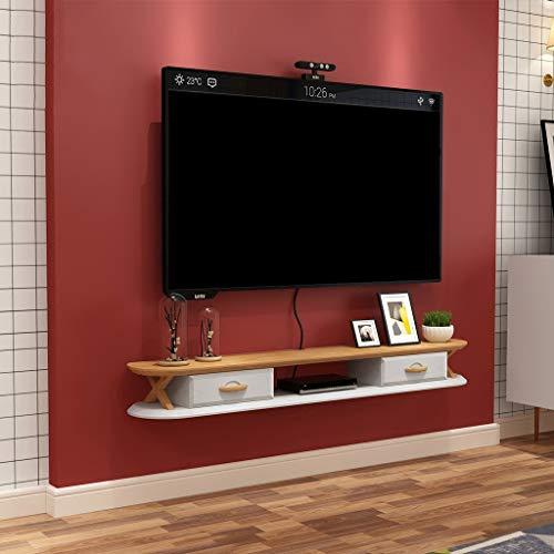 Etagère murale Meuble de télévision mural Etagère flottante avec tiroir Etagère de stockage multimédia Livres photo Jouet CD Etagère d'affichage Panneau de télévision (Couleur : Blanc)
