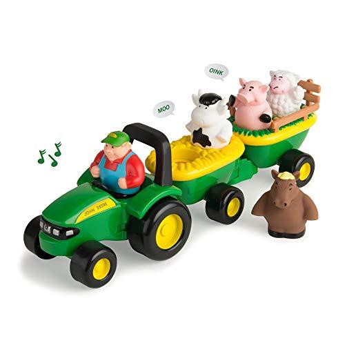 TOMY John Deere Heuwagen mit tierischen Geräuschen - Spielzeuganhänger mit Bauer und 4 Tieren zum Spielen für drinnen und draußen - Für Kinder ab 18 Monate