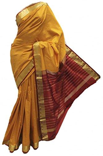 Seta ASB3596 Senape e Maroon Art Saree di seta Indian Art Silk Saree Curtain Drape Fabric Mustard
