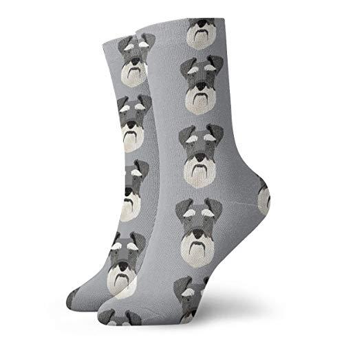 Bidetu Fun Socks -Schnauzer Head Stoff Hundekopf Stoff Hunde Haustiere Pet Fabric_561 Malerei Kunst gedruckt lustige Neuheit Tier lässig Baumwolle Crew Socken 11.8inch -
