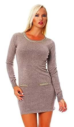 10644 Fashion4Young Damen Strick Minikleid LongPullover Pullover Pulli Kleid in 5 Farben 2 Größen (S/M=34/36, Cinder)