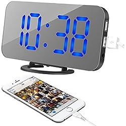 TINAWNZS Réveil, Horloge numérique à DEL, Grand écran de 6,5 pouces for muet lumineux, Double port de chargement USB, Fonction de répétition simple, Mode de gradation, Horloge miroir, Convient for une