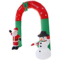 FGASAD Inflatable Santa Claus Snowman Arch Prop, Outdoor Christmas Ornaments Home Garden Family Prop Yard with LED Lights