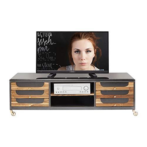 Kare design - Meuble TV en bois de teck et acier noir ANDORRA