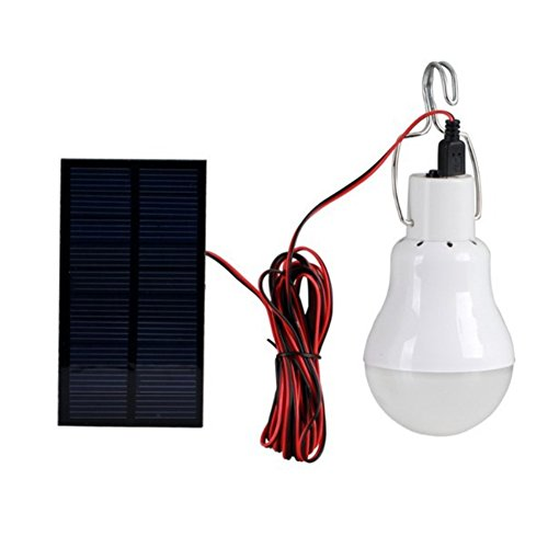 Saiko Solarleuchten Lampe wiederaufladbarer LED-Glühbirne Solar Panel Tragbar Lämpchen Licht mit Schalter für Innen Outdoor Wandern Zelt Shed Camping Licht 110 Lumen für 4 Stunden (Emittierende Lampe Panel Licht)