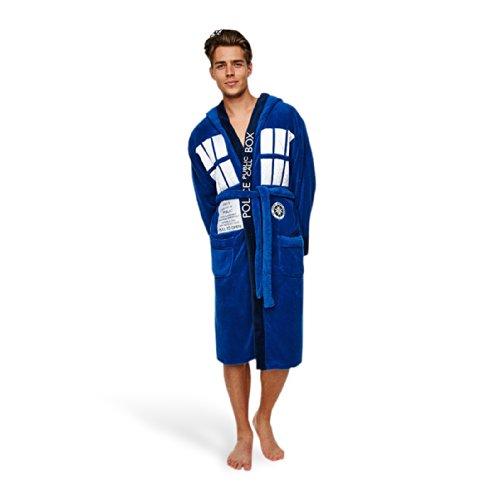 Doctor Who Bademantel Tardis blau zur TV Serie, 2 Taschen Gürtel Kapuze Langarm flauschiges Material