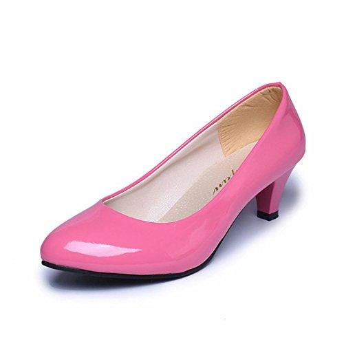 SOMESUN Women Low Heel Office Business Shoes, Tacco Basso delle Signore Eleganti delle Scarpe di Lavoro D'Ufficio delle Donne della Bocca Poco Profonda di Nude Shallow Mouth (35, Pink)