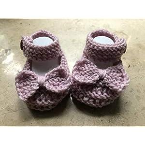 Babyschuhe gestrickt mit Schleifen 9,5 cm Mary Janes Taufschuhe booties Baby Mädchen Schuhe Neugeborene Größe 16, rosa
