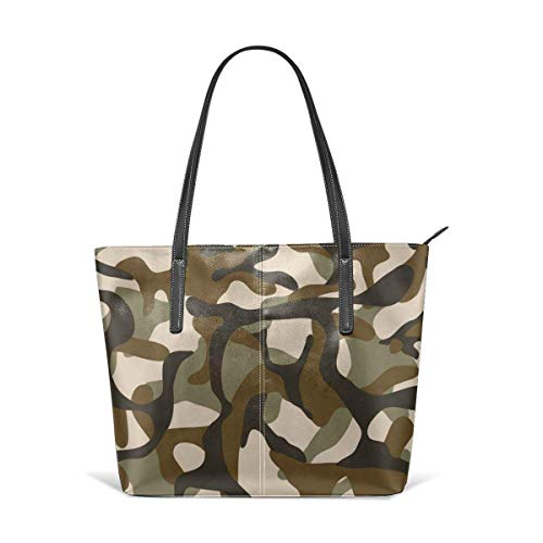 XGBags Custom Soft Leather Camouflage Military Camo Seamless Leather Zipper Tote Ladies Shoulder Bag Shoulder Bag For Travel Shopping Tote Umhängetaschen - Mädchen Camo Tragen Echte