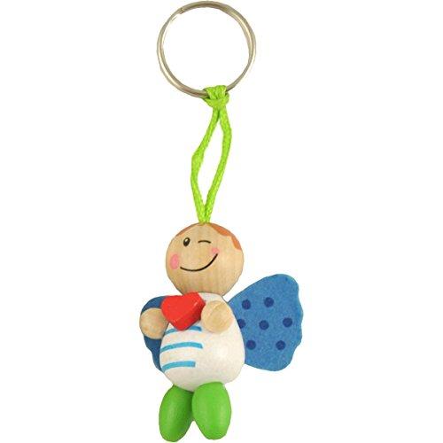 Preisvergleich Produktbild MW Handel Schutzbengel -Schlüsselanhänger aus Holz - Schutzengel - Schutz(b) Engel (Junge - Weiß mit Herz)