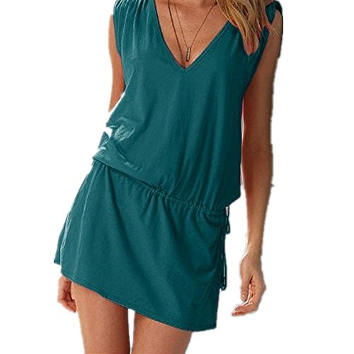 Qissy® Delle Donne Sexy Deep V-Neck Aperto-back Cover Up Short Beach Dress (Style 12)