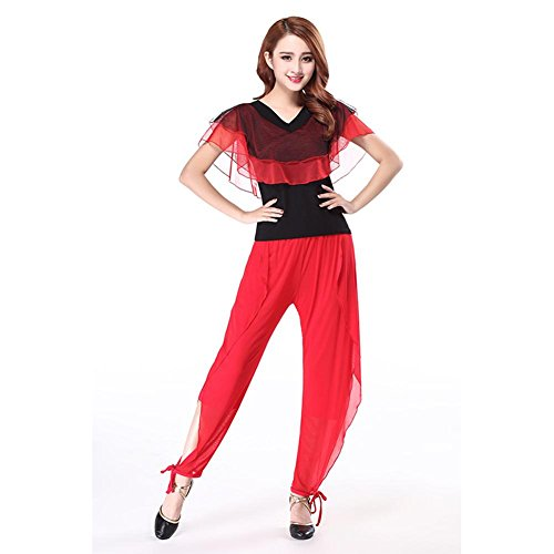 Byjia Frauen Tanzen Outfit Bekleidung Latin Square Hosen Ballsaal Kostüm Kurzarm Netzgarn Praxis Match Uniformen Profi Performance Sets Red XXL (Square Hose Kostüm)