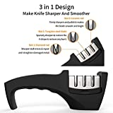 LXFC Kitchen Knife Sharpener - 3-Stage Knife Sharpening Tool Helps Repair, Restore and Polish Blades - Cut-Resistant Glove Included (Black)
