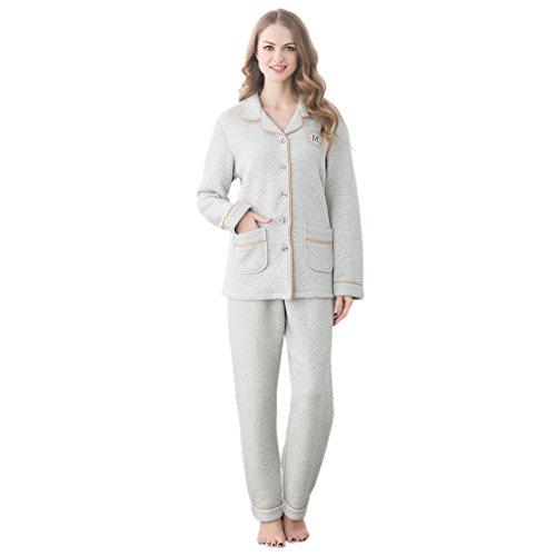 GWELL Ensemble de Pyjama Femmes Vêtement de Nuit Matelassé Doux Chaud Chambre Col Revers Manches Longues Hiver Gris